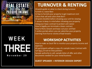 4 Week Workshop with Carl Dy Week Three